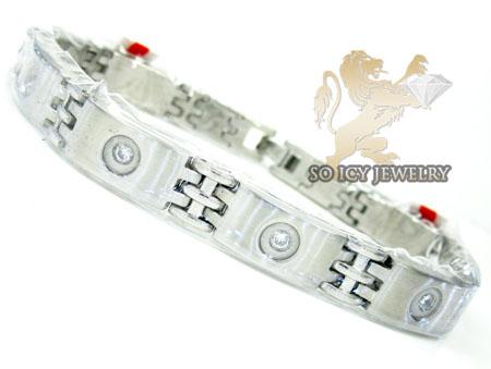 White stainless steel cz bezel bracelet