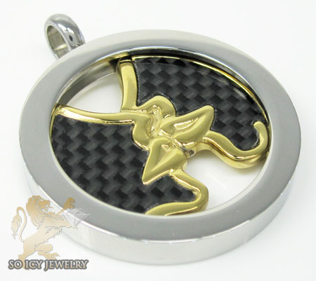Two Tone Stainless Steel Carbon Fiber Fashion Pendant