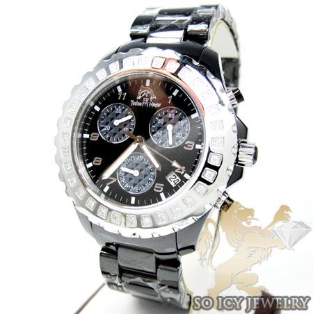 Ladies Techno Master Diamond Black Ceramic Watch 0.90ct