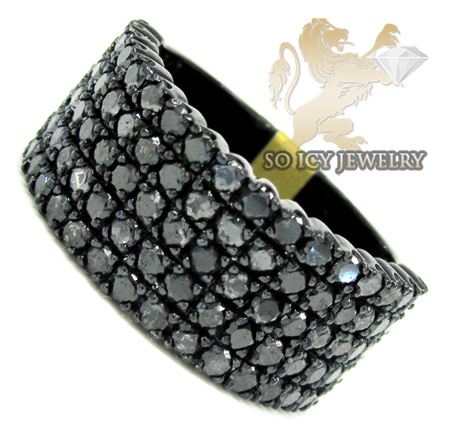 Mens 10k Black Gold Black Diamond Band 3.17ct