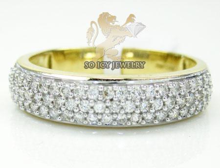 Mens 14k Yellow Gold Round Diamond Wedding Band 1.00ct