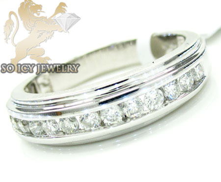 Mens 14k White Gold Round Diamond Wedding Band 1.10ct
