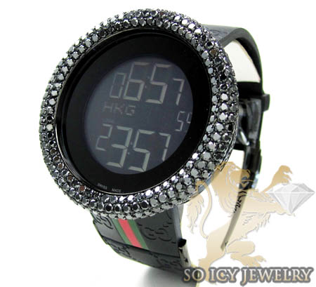 Mens Black Diamond Igucci Digital Full Case Big Bezel Watch 13.00ct