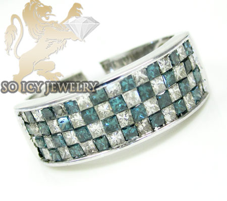 Unisex 14k White Gold Princess Blue Diamond Fashion Ring 2.00ct
