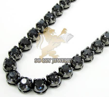 Mens 10k Black Gold Round Black Diamond Tennis Link Chain 95.00ct