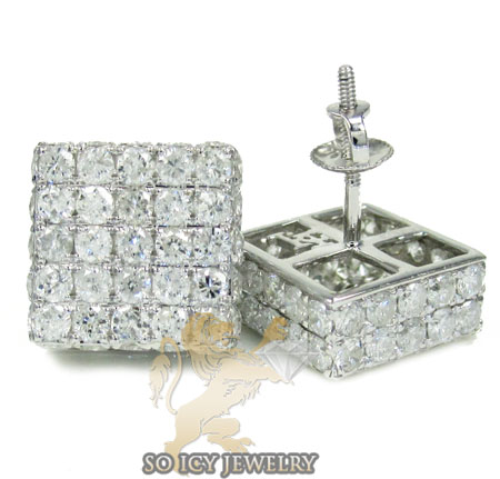 10k white gold round diamond 3d ice cube earrings 4.50ct