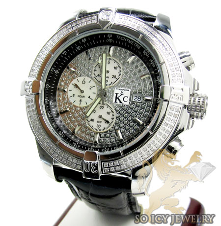 Mens Techno Com By Kc Diamond Big Bezel Watch 2.00ct