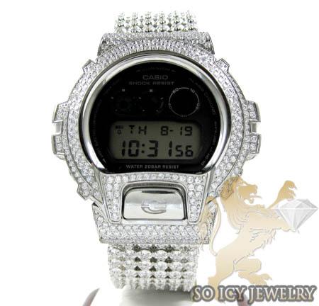 Mens White Cz Dw-6900 G-shock Watch Full Ice 15.00ct