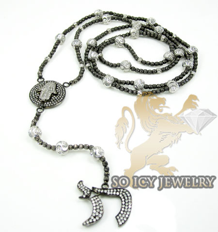 14k Black & White Gold Diamond Jewish Rosary Necklace 1.30ct