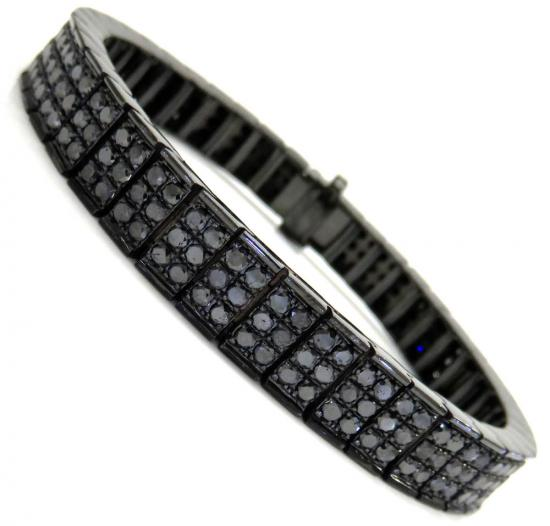 Black Sterling Silver Black Diamond Tennis Bracelet 14.20ct