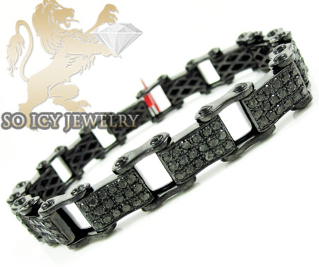 Black Sterling Silver Black Diamond Bicycle Chain Bracelet 8.00ct