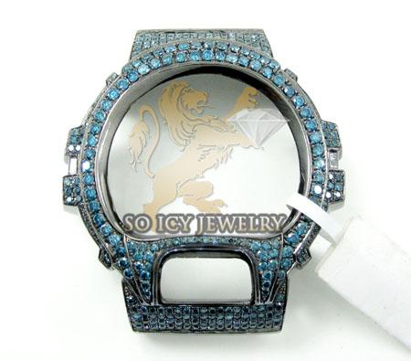 Blue diamond black .925 italy g-shock case 5.50ct