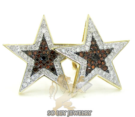10k yellow gold red diamond star earrings 0.70ct