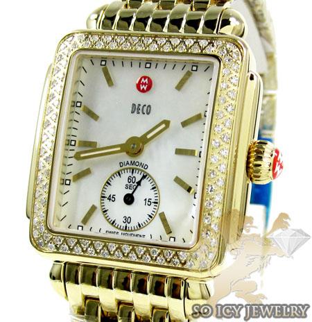 Ladies Michele Deco Diamond Yellow Stainless Steel Watch 0.60ct