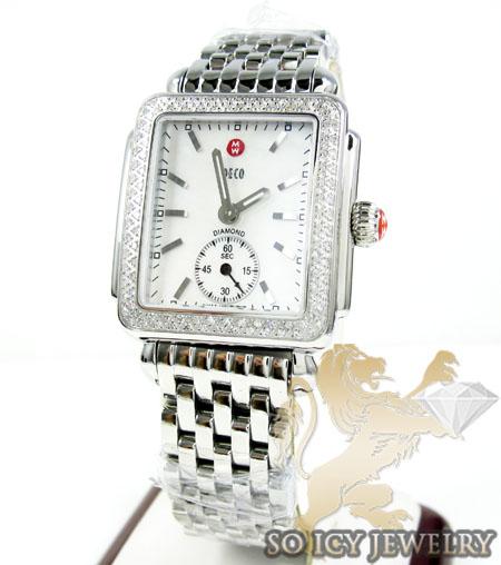Ladies michele deco diamond white stainless steel watch 0.60ct