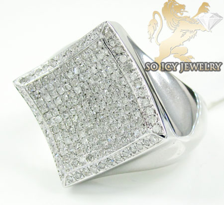 Mens Sterling Silver Diamond Kite Ring 1.25ct