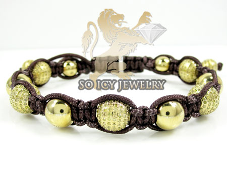 Yellow Stainless Steel Diamond Macramé Smooth Bead Brown Rope Bracelet 6.86ct