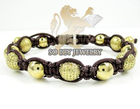 Yellow Stainless Steel Diamond Macramé Smooth Bead Brown Rope Bracelet 6.86ct