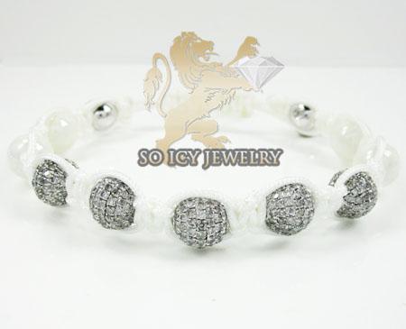 White Stainless Steel Macramé Smooth White Onyx Bead Rope Diamond Bracelet 6.50ct