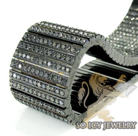 Mens Black Stainless Steel Black Diamond Bracelet 32.00ct