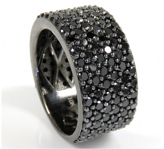 Mens 10k black gold black diamond band 6.10ct