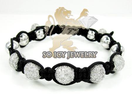 White Stainless Steel Diamond Macramé Smooth Bead Rope Bracelet 6.88ct