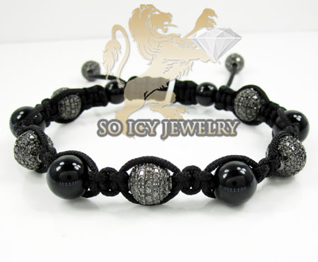 Black Stainless Steel Diamond Macramé Smooth Bead Rope Bracelet 7.88ct