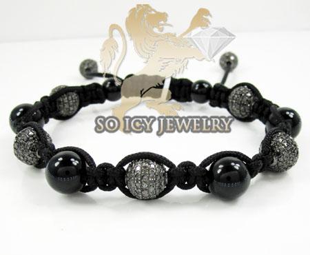 Black Stainless Steel Diamond Macramé Smooth Bead Rope Bracelet 7.88ct