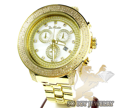 Mens Joe Rodeo Yellow Stainless Steel Pilot Diamond Watch 3.15ct Jrpl3