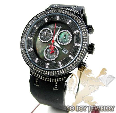 MENS JOE RODEO BLACK STAINLESS STEEL MASTER DIAMOND WATCH 2.20CT JJM66