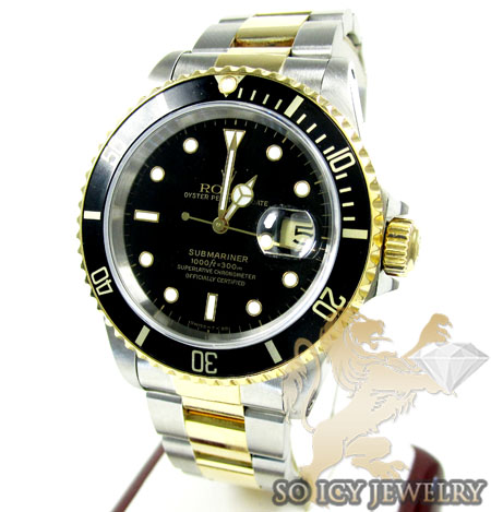 MENS ROLEX TWO TONE STEEL & 18K YELLOW GOLD SUBMARINER WATCH