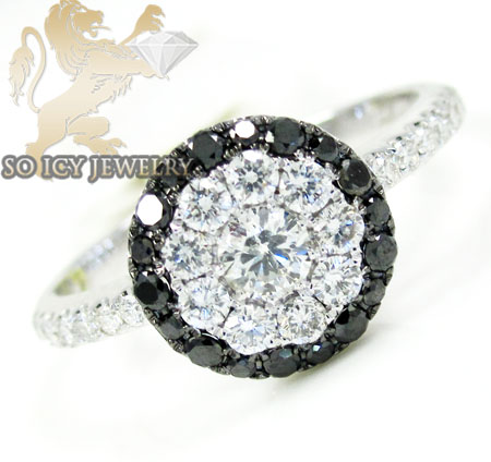 Ladies 18k white gold black diamond cluster ring 1.00ct