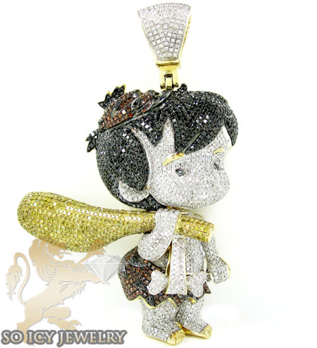 Flintstone bam bam 10k yellow gold diamond pendant 10.00ct