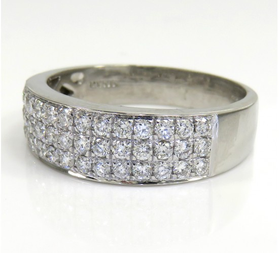 Mens 14k White Gold Round Diamond Wedding Band Ring 1.25ct
