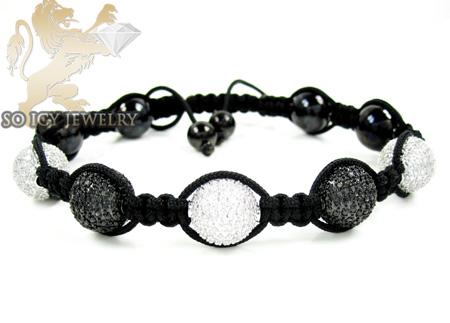 10k Two Tone Gold Black & White Diamond Macramé Smooth Bead Rope Bracelet 4.35ct