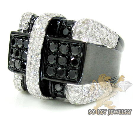Mens 10k Black Gold Black Diamond Pinky Ring 2.81ct