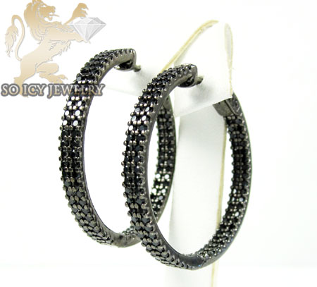 .925 black sterling silver round black cz hoops 2.50ct