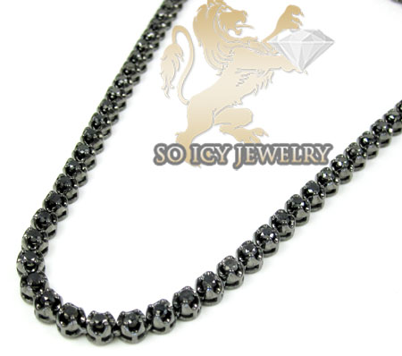 10k Black Gold Round  Black Diamond Chain 11.00ct