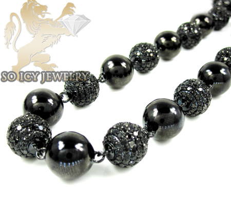 14k black gold round black diamond bead ball chain 44.50ct