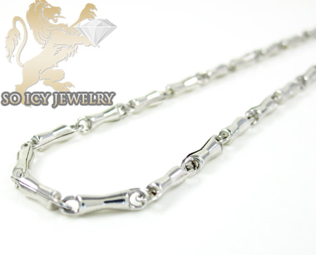 10k White Gold Bullet Chain 22 Inches 2mm