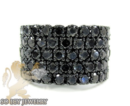 Mens black sterling silver black diamond cluster ring 6.00ct