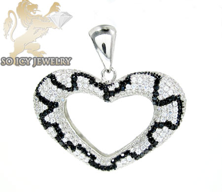 Sterling Silver Black & White Cz Heart Pendant 5.00ct