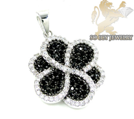Sterling Silver Black & White Cz Flower Pendant 3.50ct