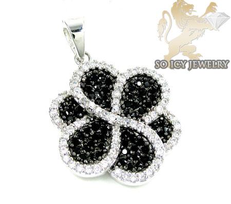 Sterling Silver Black & White Cz Flower Pendant 3.50ct