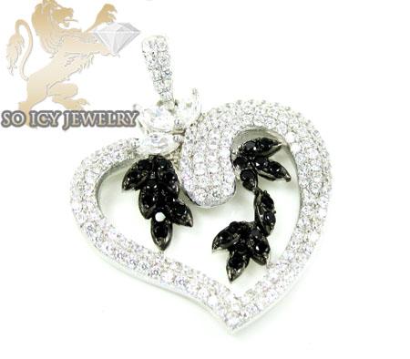 Sterling silver black & white cz heart pendant 4.00ct