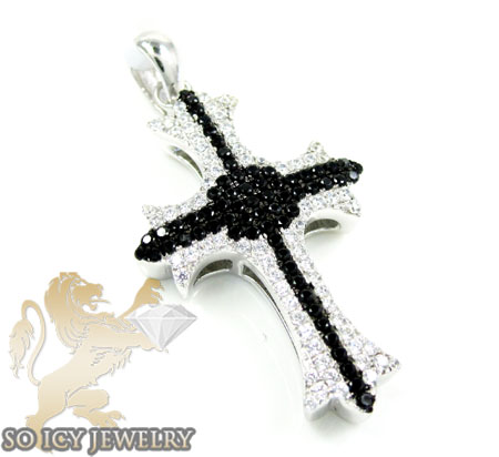 Sterling silver white & black cz cross 3.50ct