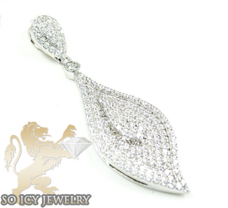 Sterling Silver Cz Leaf Pendant 3.00ct
