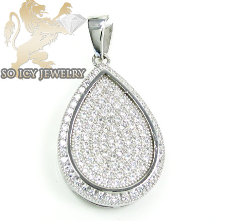 Sterling Silver Cz Fancy Pear Pendant 2.00ct