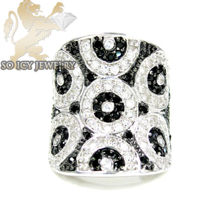 Sterling Silver Black & White Cz Fashion Ring 3.00ct