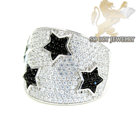 Sterling Silver Black & White Cz Star Ring 4.00ct